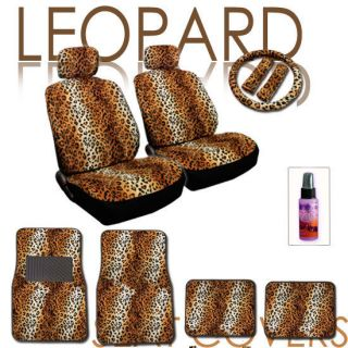 PC Leopard Animal Print Car Seat Covers Wheel Cover Mats Set with Gift
