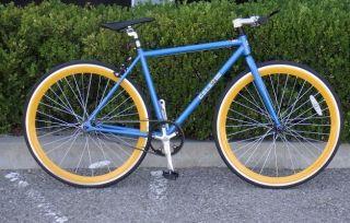 Fixed Gear Bike Fixie Bike Road Bicycle 48cm Blue w Deep 43mm Orange