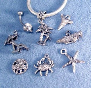 Shell Starfish Dolphin Turtle Pirate Silver Charms 316L Navel Belly