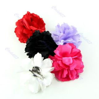 1PCS Lady Girl Satin Peony Flower Hair Clips Brooch New