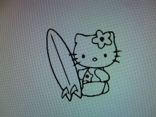 Hello Kitty SURFER vinyl decal sticker available in 23 colors