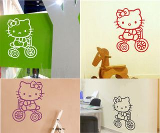 Hello Kitty Tricycle Art Wall Stickers Decal Wallpaper #WSACartoon0018