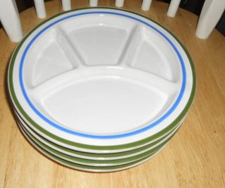 Heavy White Sushi Plates Green and Blue Stripe Rim  Set of 4