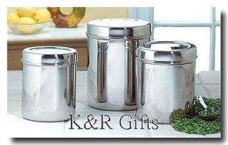 CANISTER SET 3 Stainless Steel Fresh Food Storage Containers NEW