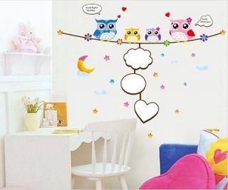 New Baby love Cute Four Owls & Moon& Star Nursery Room Wall sticker