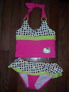 HELLO KITTY 2 pc Halter Tank Bikini Bathing/ Swim Suit sz 4 Pink/Green