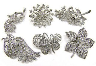 WHOLESALE LOT Clear Bling Rhinestone Silver BROOCH PIN Wedding