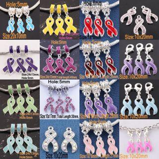 Wholesale Enamel Awareness Ribbon Dangle Pendant European Bead Charm