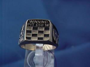 Winning pit crew Racing race car helmet auto racing ring size 9.5