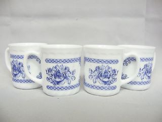 Arcopal France Honorine Set of 4 Mugs Cups Blue Floral Pattern Toile