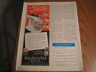 1950 Hobart Kitchen Aid Mixer & Coffee Mill Ad Women Serious About