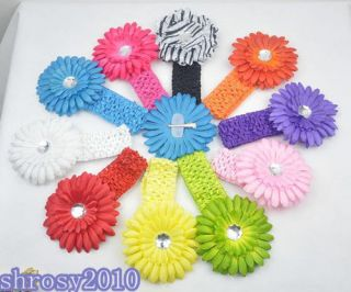 Bulk Baby Girl Toddler Crochet Headband Daisy Flower Hair Bow Clips