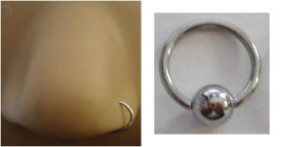 Steel Silver Nose Hoop Captive Small Ring 20 gauge 20g 6mm diameter