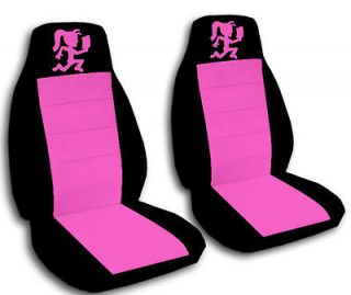 HATCHET GIRL CAR SEAT COVERS BLACK & PINK FRONT SET