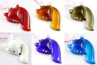 Colors Cute Fox Animal Lampwork Murano Glass Pendant