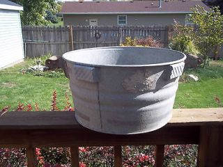 vtg antique metal wash washing tub farm basket WOOD HANDLES maytag