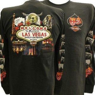 Harley Davidson Las Vegas Dice Cards Flames Long Sleeve Shirt 2X XXL