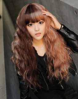 lm051 CHOCOLATE MOCHA 2 TONE BROWN PUNKY CURL FULL LACE WIG / WIGS