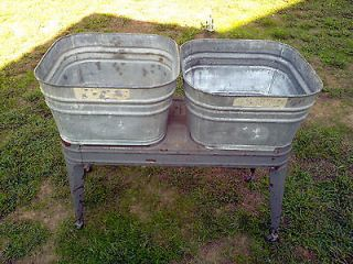 Vintage Wheeling Double Wash Tubs with Stand