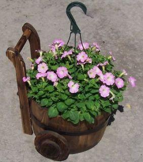 Wood Wheeled Barrel Yard Decor Nursery Garden Flower Pot Decor 2 Pack