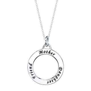 Sterling Silver Mother Daughter Friend Round Necklace   Necklace