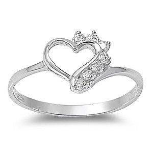 Sterling Silver Heart Ring w/ CZ Stones Gorgeous Italian Design Solid