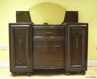 Stunning Art Deco 1930s Oak Mirror Backed Sideboard