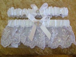 Satin and Lace Rhinestone Heart Ribbon Wedding Garter Set Bridal belt