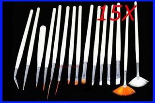 15 x Nail Art Gel Polish Brush Painting Pen Set
