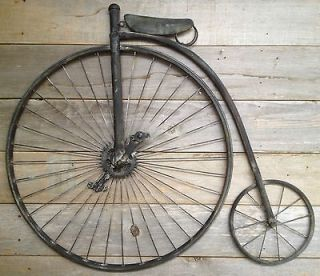 Metal Diecast Antique Tricycle Bicycle Rider Collectible Wall Art