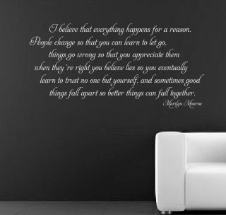 MARILYN MONROE I BELIEVE  wall Sticker Mural Decal quote art rc