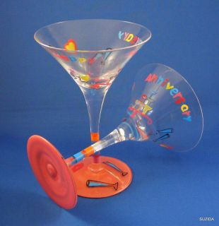 LARGE MARTINI COCKTAIL GLASS   HAPPY ANNIVERSARY   BNIB