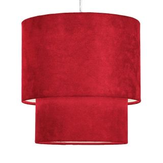 Modern 2 Tier Red Faux Suede Ceiling Pendant Light Lamp Shade New
