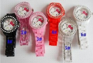 6pcs Lovely color HelloKitty Girls Ladies Womens Crystal Quartz Wrist