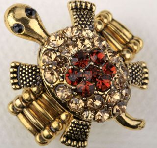 Gold brown crystal turtle tortoise stretchy ring 4;buy 10 items free