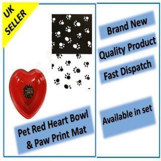 PET BOWL MAT RED HEART PAW PRINT WHITE BLACK FEEDING FOOD DOG CAT