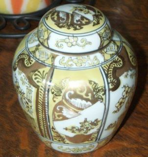 Exquisite Hand Painted Gold Imari Tea or Ginger Jar