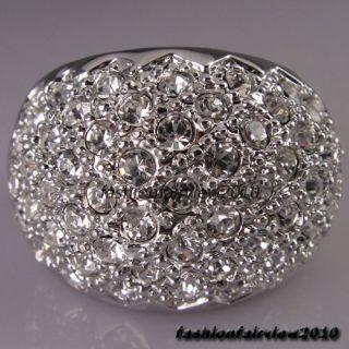 New 18K White Gold GP Full of Swarovski Crystal Cocktail Ring IR015A