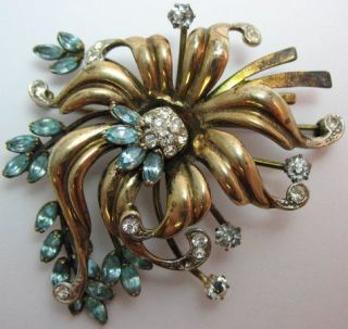 1940s Gold Vermeil Sterling Blue & Clear Rhinestone FLOWER PIN Brooch