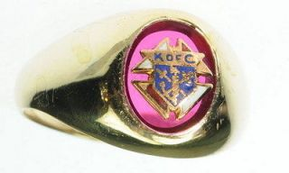 MENS 10K YELLOW GOLD KNIGHTS OF COLUMBUS FRATERNAL BAND ESTATE RING