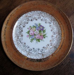Edwin M Knowles Semi Vitreous 22kt Gold Roses Floral Dish Plate EUC