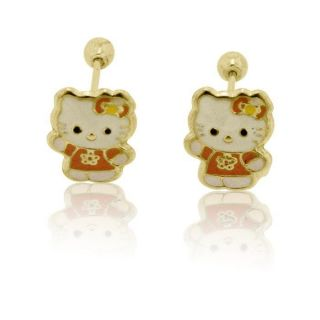 14K Solid Yellow Gold Hello Kitty Full Body Stud Earrings Safety Screw