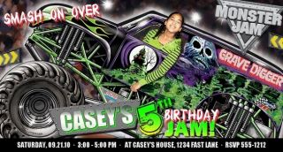 Monster Truck Jam Birthday Party Invitations Favors