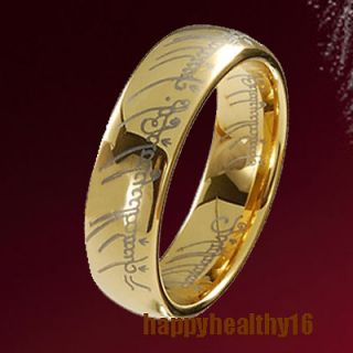 Exquisite Tungsten Carbide LOTR 18K Gold Plated Band Ring 8mm #8 W1