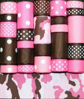 GROSGRAIN RIBBON MIX LOT PINK BROWN CAMO CAMOFLAUGE 24YDS L95 *FREE US