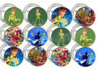 Disney Peter Pan Green Assorted 2 Large Buttons Pins Party Favors (12