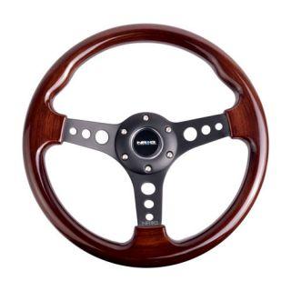 NRG Steering Wheel 330mm Classic Wood Grain 3 Spoke Black Center Old