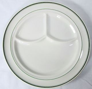 Jackson China Divided Grill Plate White Green Bands Dinner Restaurant