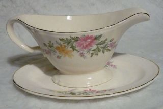 Edwin Knowles Semi Vitreous Floral China Gravy Boat