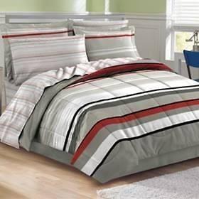 RETRO LATITUDE GREY WHITE BLACK RED STRIPE COMFORTER SHEET BED SET